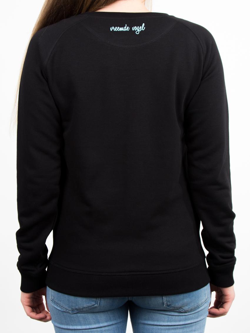Zwarte Trui Dames.Sweater Birdy Zwart Vreemde Vogel