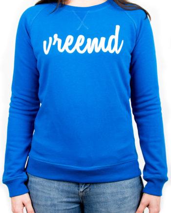 Sweater vreemd trui dames women blauw wit